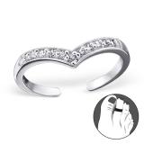 """Hopeinen Säädettävä Varvassormus """"Silver Heart Toe Ring with Cubic Zirconia"""""""