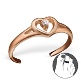 """Hopeinen Säädettävä Varvassormus """"Rosegold Heart Toe Ring with Cubic Zirconia"""""""