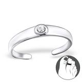"""Hopeinen Säädettävä Varvassormus """"Silver Round Toe Ring with Crystal"""""""