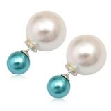 "Hopeiset BB-korvakorut ""White/Aqua Pearl"""