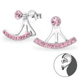 "Hopeiset Jackets-Korvakorut ""Silver Curved Ear Studs with Light Rose Crystal"""