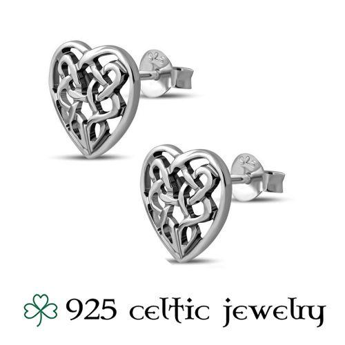 "Hopeiset Keltti Korvakorut ""Celtic Knot Heart"""