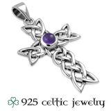 "Hopeinen Kelttikoru Hopeaketjulla ""Celtic Knot Amethyst Cross"""