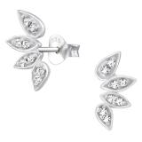 "Hopeakorvakorut ""Leaf Ear Studs with Cubic Zirconia"""