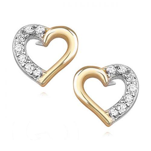"""Hopeiset Sydänkorvakorut """"Gold Plated Heart Earrings"""""""
