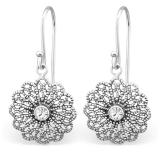 """Hopeakorvakorut """"Vintage Hanging Earrings with Crystal"""""""