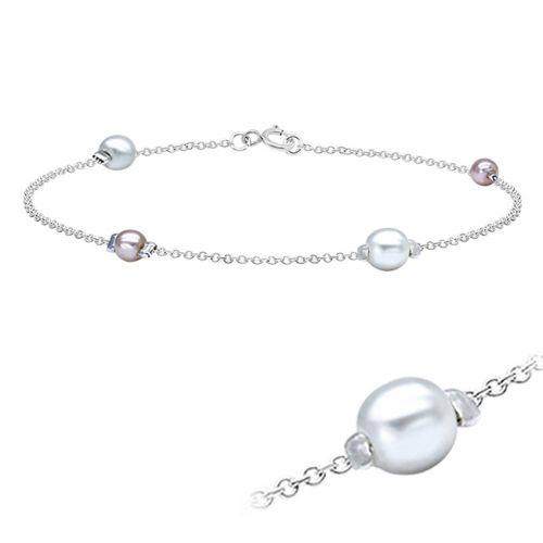 "Hopeinen Nilkkaketju ""Sweet Pearls"""