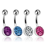 316L Surgical Steel Navel Ring with Leopard Skin Clear Epoxy Coated Ball