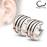 "Kirurginteräs korvakoru ""Triple Dome Hoop Earrings, Rosegold"""
