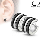 "Kirurginteräs korvakoru ""Triple Dome Hoop Earrings, Black"""