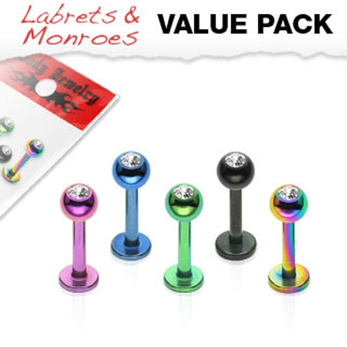 "Huulikorupaketti ""5 kpl Color IP Over 316L Surgical Stainless Steel Gem Balls Labrets"""