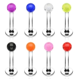 "Huulikorupaketti ""7 Pcs Value Pack Acrylic Ball Steel Labret"""