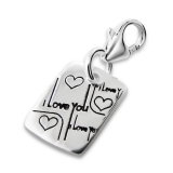 "Hopeinen keräilykoru ""Silver Square I Love You Charm With Lobster"""