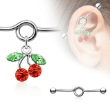 Red Gem Cherry Charm Dangle Industrial Barbell