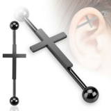 Cross Black 316L Surgical Steel Industrial Barbell
