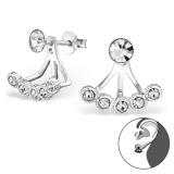 "Hopeiset Jackets-Korvakorut ""Basic Ear Jackets Silver Earrings with Crystal"""