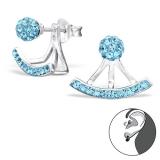 """Hopeiset Jackets-Korvakorut """"Curved Ear Studs with Aquamarine Crystal"""""""