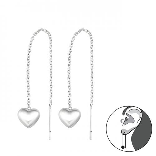 "Hopeiset Ketjukorvakorut ""Silver Heart"""