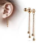 "Ketjukorvakorut ""Two Chained Free Falling Ball Rosegold"""