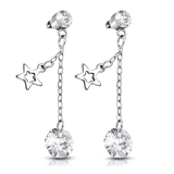 """Ketjukorvakorut """"Steel Star Charm With Crystal"""""""