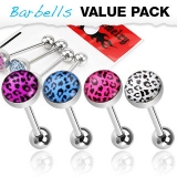 4 kpl Value Pack 316L Surgical Steel Barbells with Leopard Print Logo Ball