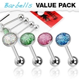 4 kpl Value Pack 316L Surgical Steel Barbell with Epoxy Glitter Ball