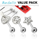 3 kpl Value Pack 316L Surgical Steel Clear CZ Paved Tongue Ring Pack