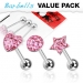 3 kpl Value Pack 316L Surgical Steel Pink CZ Paved Tongue Ring Pack