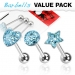 3 kpl Value Pack 316L Surgical Steel Aqua CZ Paved Tongue Ring Pack
