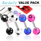 4 kpl Value Pack 316L Surgical Steel Barbells with Stars or Hearts