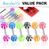 6 kpl Value Pack 316L Surgical Steel Barbells with Candy Stripes