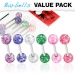 6 kpl Value Pack 316L Surgical Steel Barbells with Acrylic Color Ultra Glitter Ball