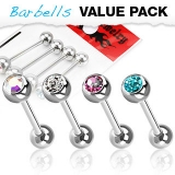 4 kpl Value Pack 316L Surgical Steel Barbell with Gem Ball