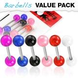 6 kpl Value Pack 316L Surgical Steel Barbells with Acrylic Balls