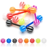 5 kpl Value Pack Candy Striped Acrylic Balls Flexible PTFE Barbells