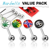4 Pcs Value Pack of Assorted Logo 316L Surgical Steel Barbell with Epoxy Dome Ball