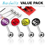 4 Pcs Value Pack of Assorted Word 316L Surgical Steel Barbell