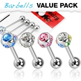 4 Pcs Value Pack of 316L Surgical Steel Barbells with Multi CZs