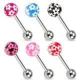 6 Pcs Value Pack of Flower Print Epoxy Ball 316L Surgical Steel Barbell