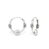 "Hopeiset Bali-Korvakorut ""12 mm Silver Bali Ear Hoops with Crystal"""