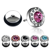 """Kirurginteräs Fake Plug """"Round Gem Surrounded by Clear Paved Gems"""""""