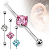 Square CZ 316L Surgical Steel Industrial Barbell