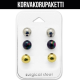 "Korvakorupaketti 3 paria ""8mm Ball Ear Stud Set"""
