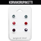 "Korvakorupaketti 3 paria ""Gry, Red, Purple Round Crystal Set"""