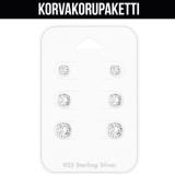 "Korvakorupaketti 3 paria ""925 silver 4,5,6 mm Cubic Zirconia"""