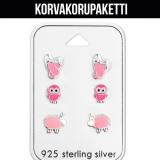 "Korvakorupaketti 3 paria ""Children's Silver Pink Ear Stud Set"""