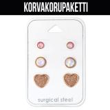 "Korvakorupaketti 3 paria ""Gold Surgical Steel Heart Opal Set"""