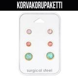 "Korvakorupaketti 3 paria ""Gold Surgical Steel Opal Set"""