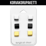 "Korvakorupaketti 3 paria ""Square Ear Stud Set"""