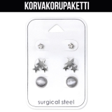 "Korvakorupaketti 3 paria ""Cubic Zirconia and Cat eye"""
